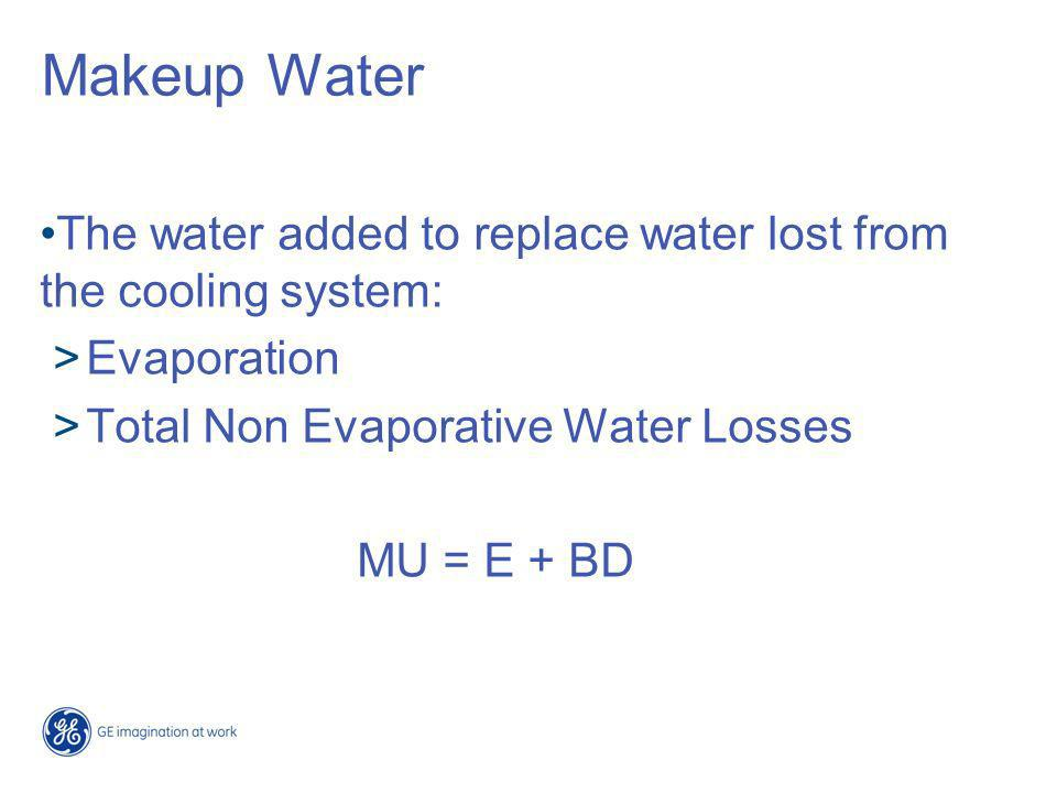 Makeup Water The water added to replace water lost from the cooling system: Evaporation. Total Non Evaporative Water Losses.
