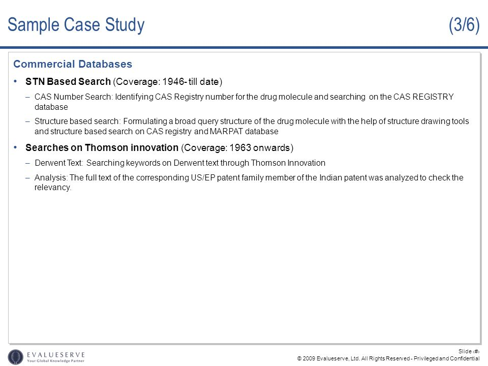 Sample Case Study (3/6) Commercial Databases