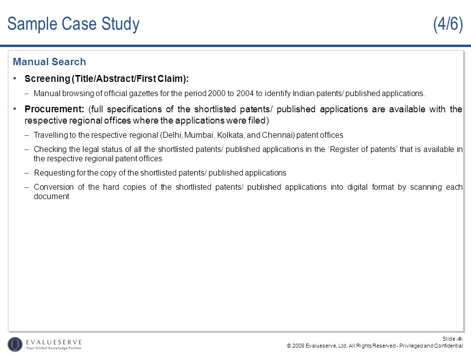Sample Case Study (4/6) Manual Search