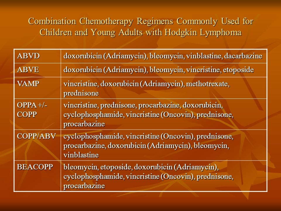 Combination Chemotherapy Regimens Commonly Used for Children and Young Adults with Hodgkin Lymphoma