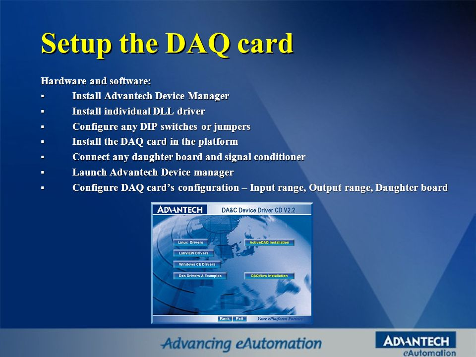 Setup the DAQ card Hardware and software: