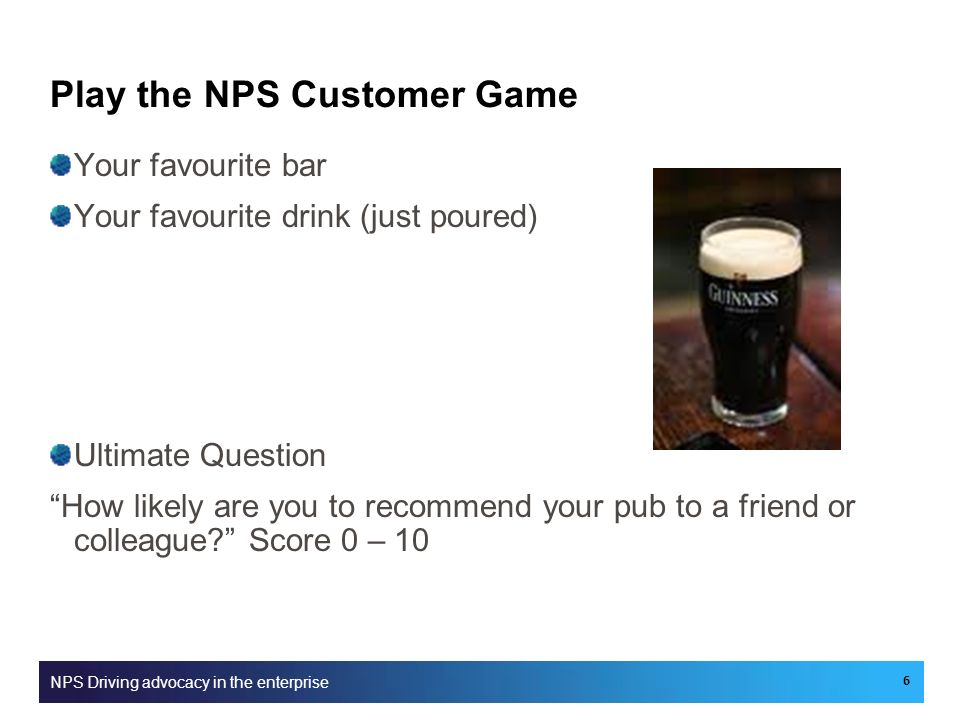 Play the NPS Customer Game