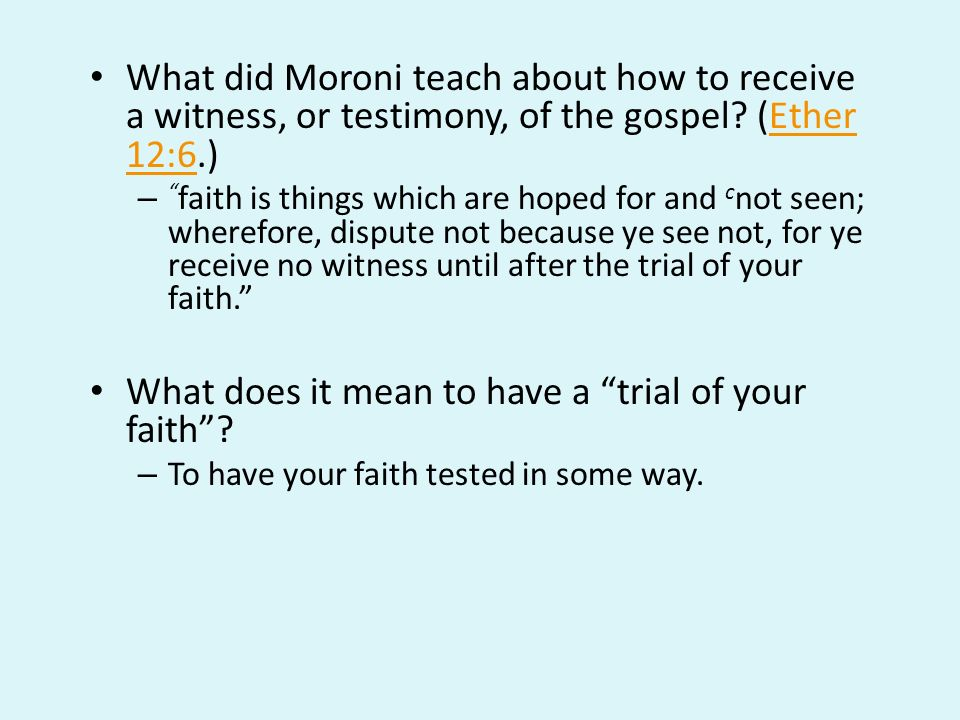 What does it mean to have a trial of your faith