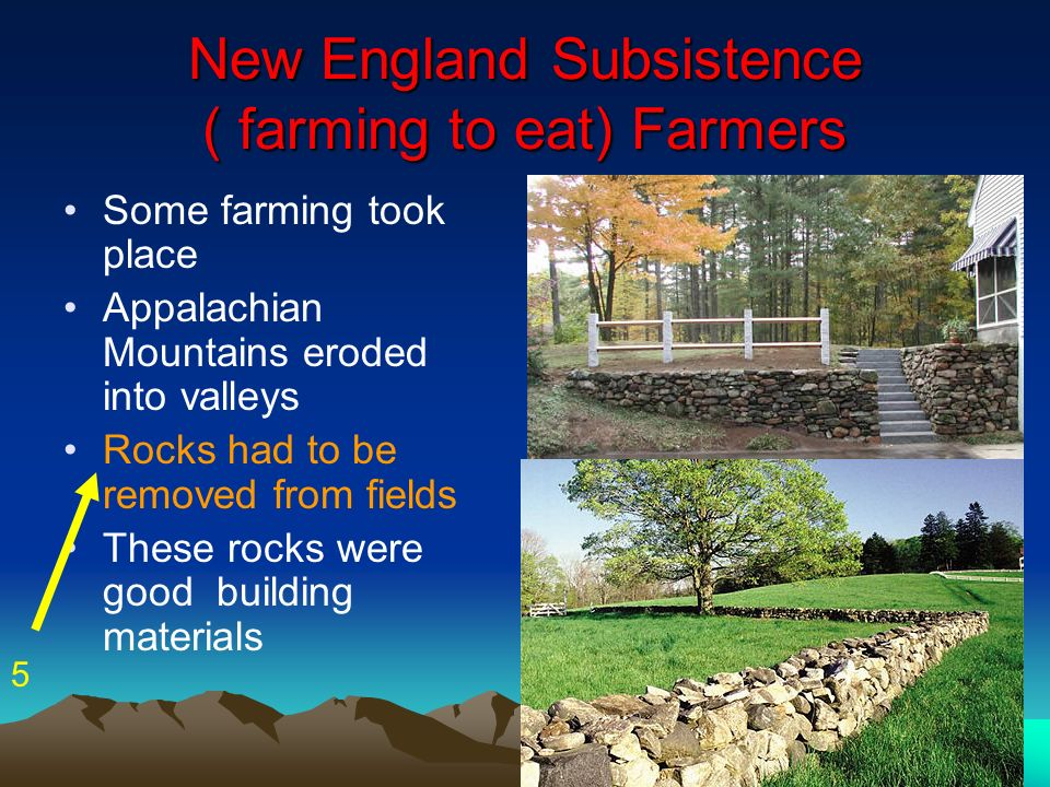 New England Subsistence ( farming to eat) Farmers
