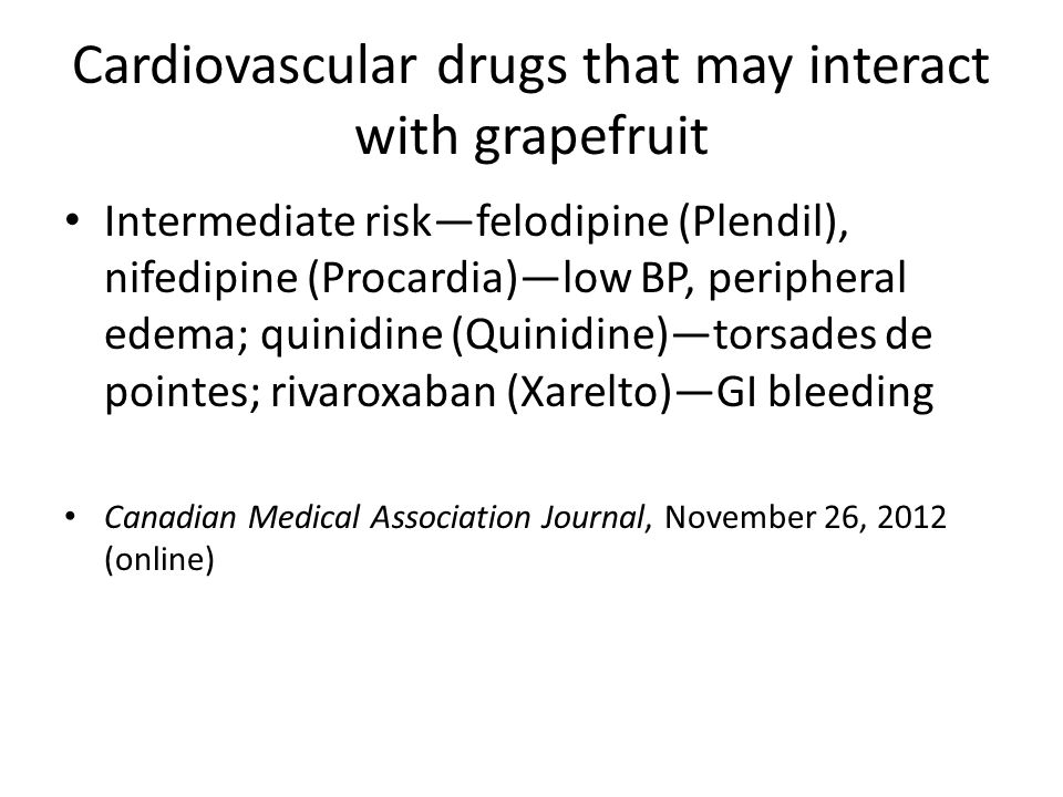 Cardiovascular drugs that may interact with grapefruit