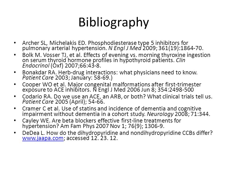 Bibliography Archer SL, Michelakis ED. Phosphodiesterase type 5 inhibitors for pulmonary arterial hypertension. N Engl J Med 2009; 361(19):1864-70.