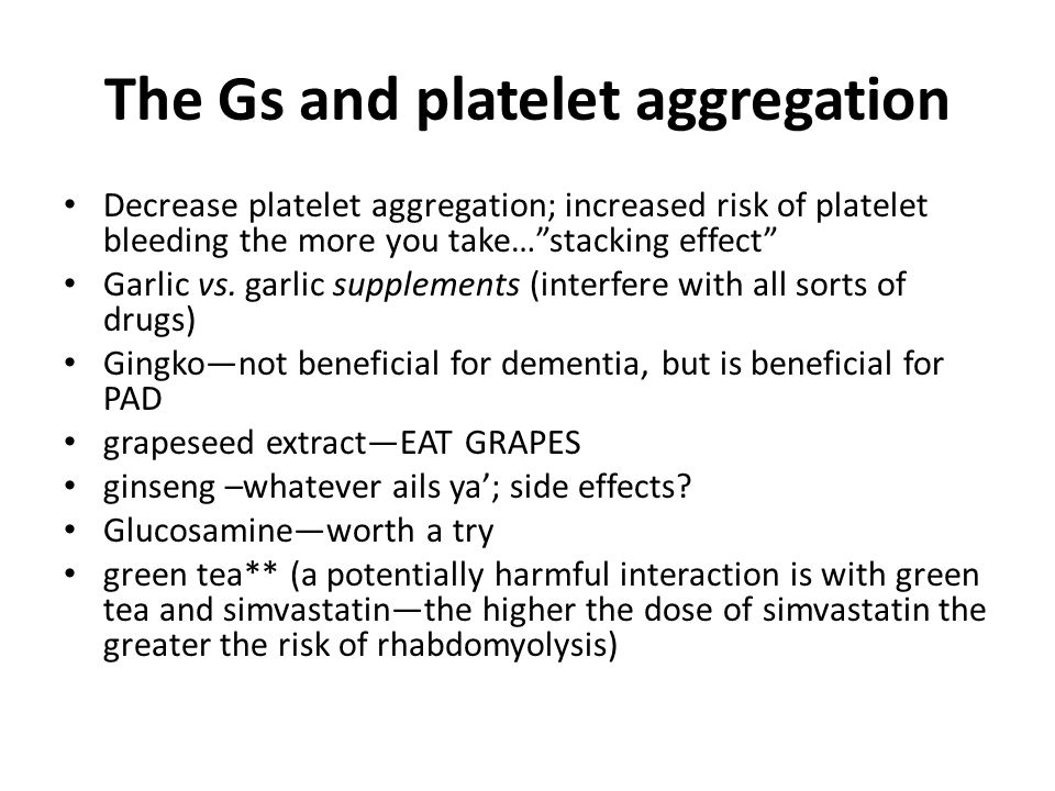 The Gs and platelet aggregation