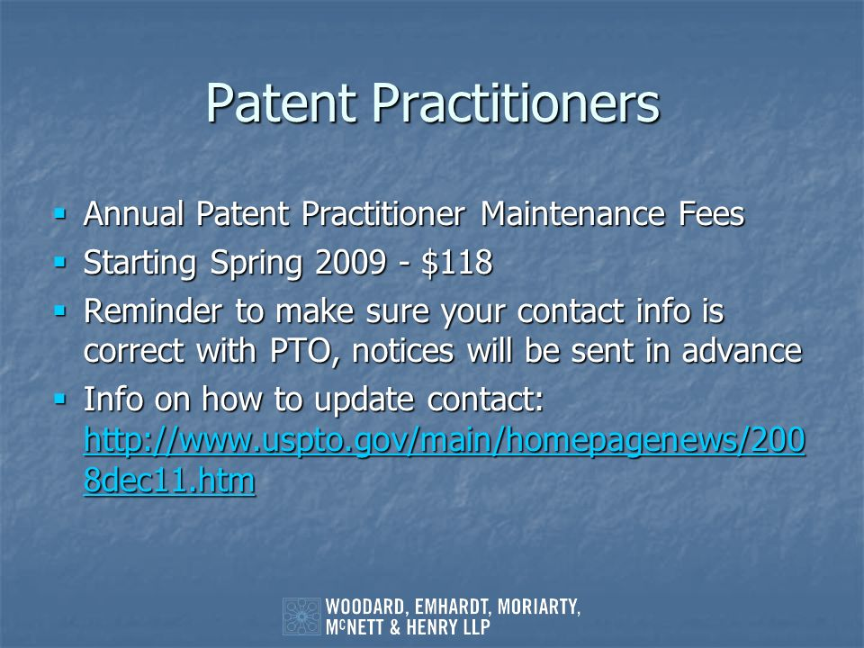 Patent Practitioners Annual Patent Practitioner Maintenance Fees