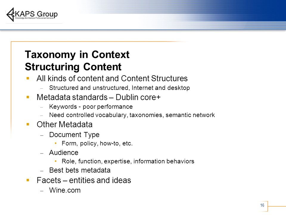 Taxonomy in Context Structuring Content
