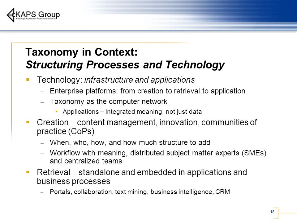 Taxonomy in Context: Structuring Processes and Technology