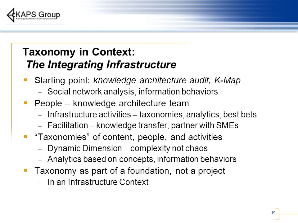Taxonomy in Context: The Integrating Infrastructure
