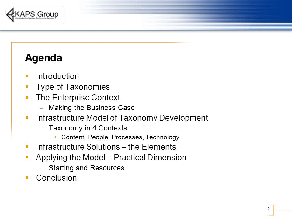Agenda Introduction Type of Taxonomies The Enterprise Context