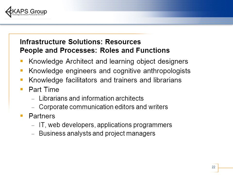 Knowledge Architect and learning object designers
