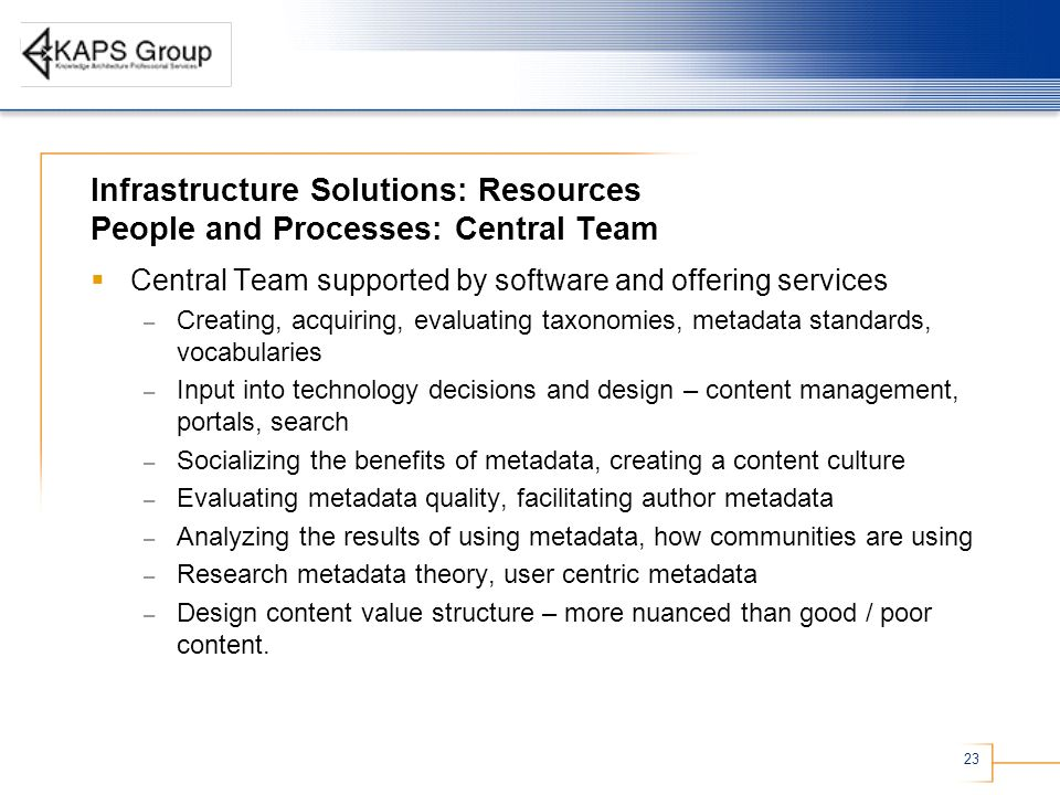 Infrastructure Solutions: Resources People and Processes: Central Team