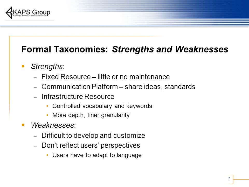 Formal Taxonomies: Strengths and Weaknesses