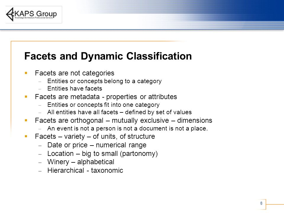 Facets and Dynamic Classification