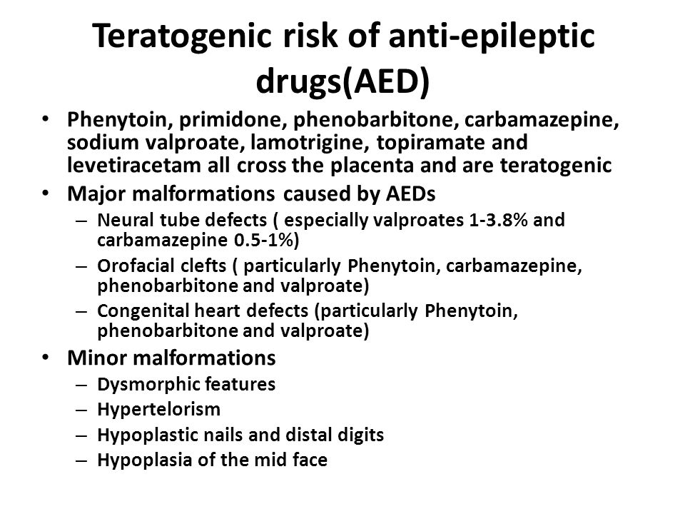 Teratogenic risk of anti-epileptic drugs(AED)