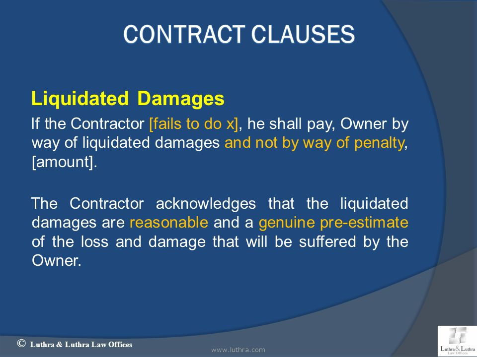 Contract Clauses Liquidated Damages