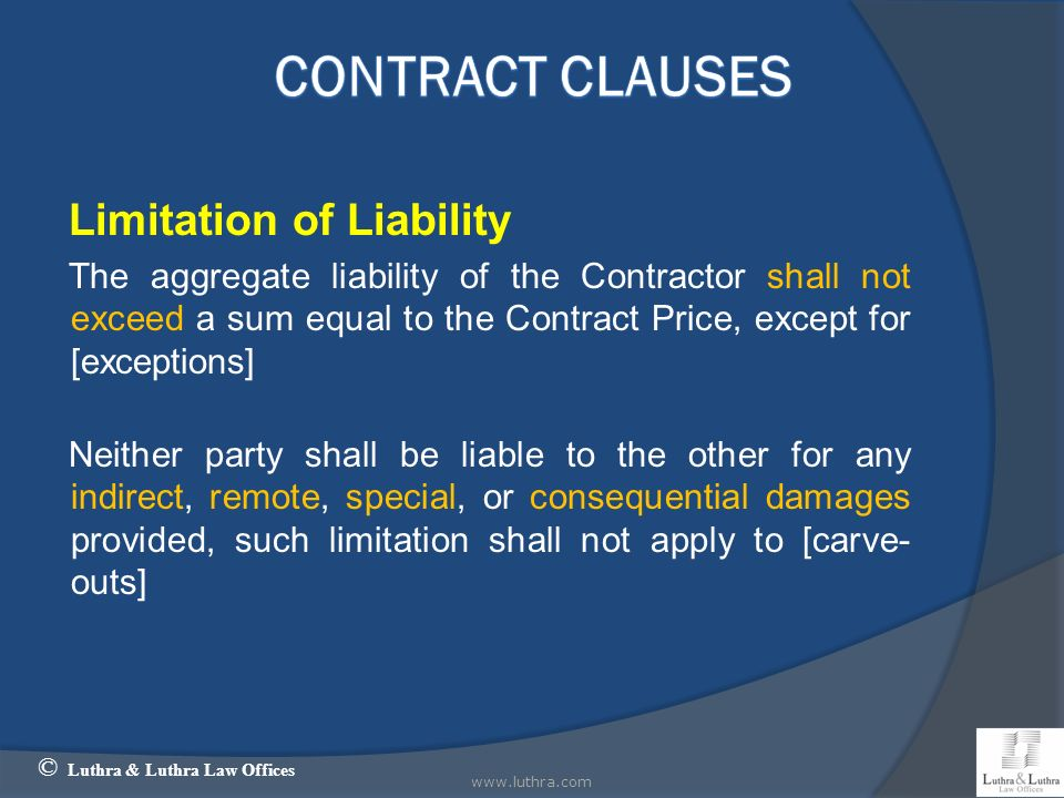 Contract Clauses Limitation of Liability