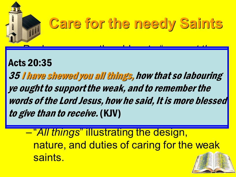 Care for the needy Saints