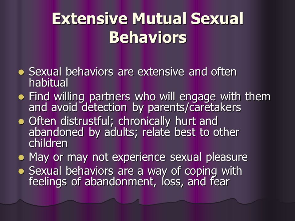 Extensive Mutual Sexual Behaviors