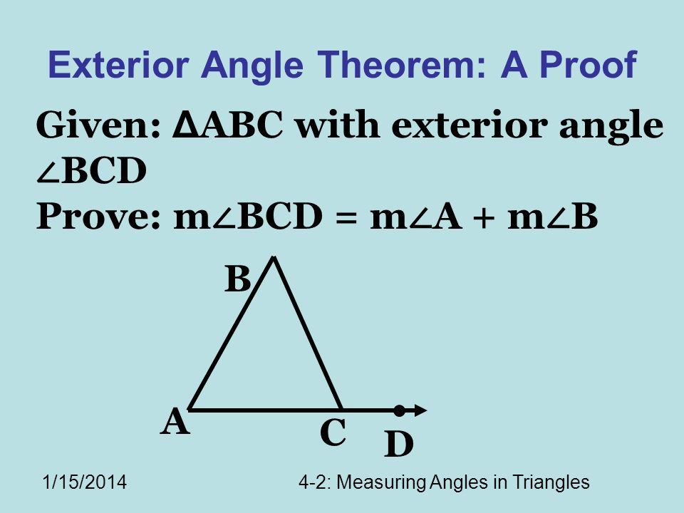 Exterior Angle Theorem: A Proof