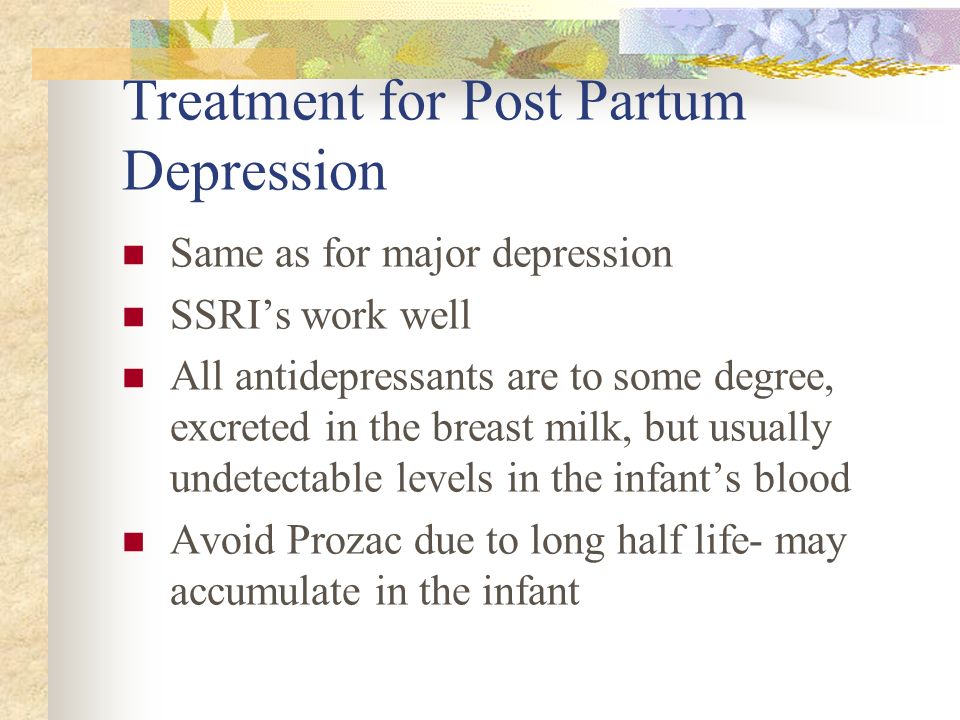 Treatment for Post Partum Depression
