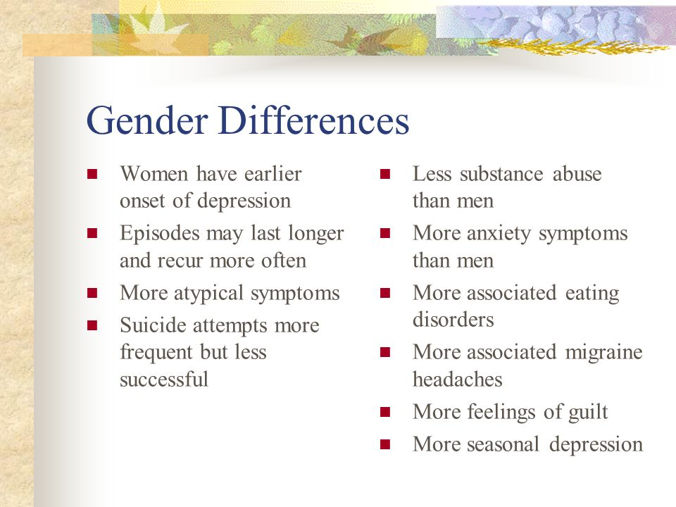 Gender Differences Women have earlier onset of depression