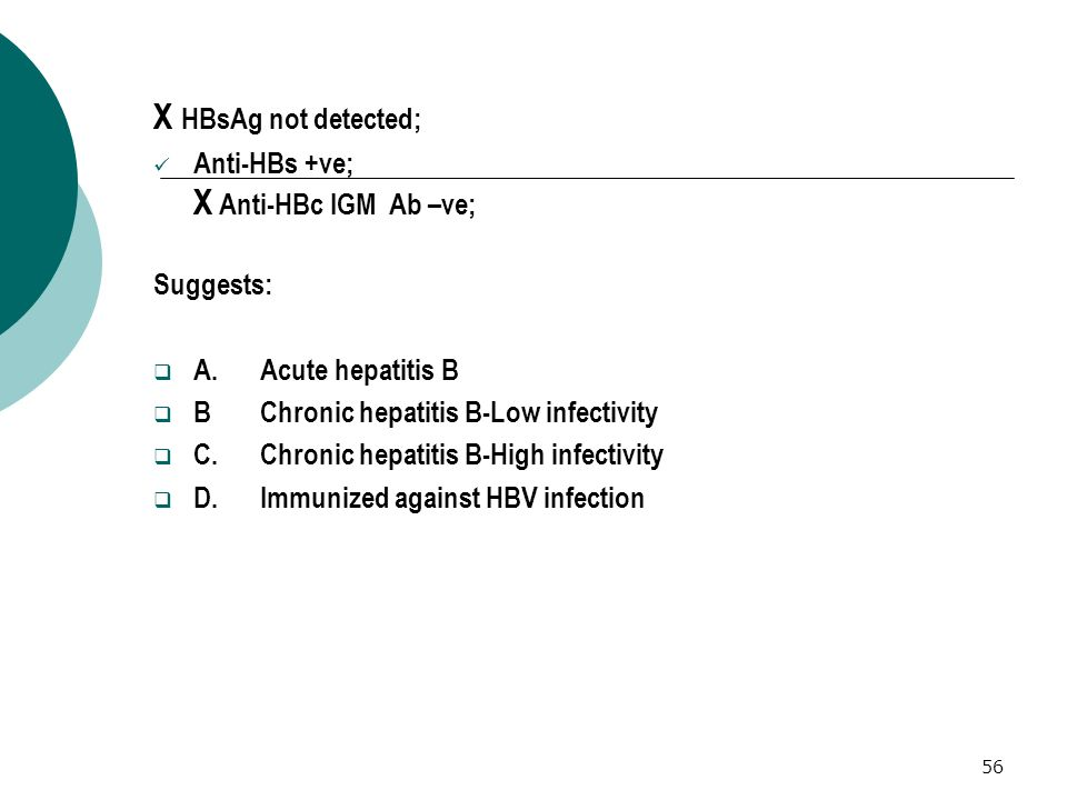 X HBsAg not detected; Anti-HBs +ve; X Anti-HBc IGM Ab –ve; Suggests: