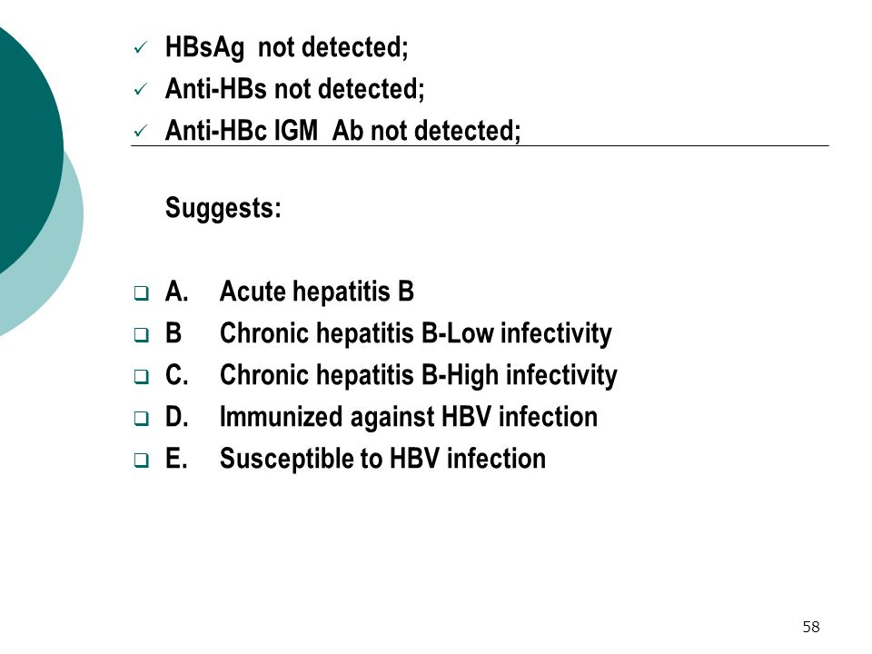 HBsAg not detected; Anti-HBs not detected; Anti-HBc IGM Ab not detected; Suggests: A. Acute hepatitis B.
