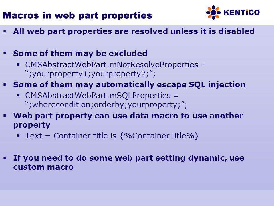 Macros in web part properties
