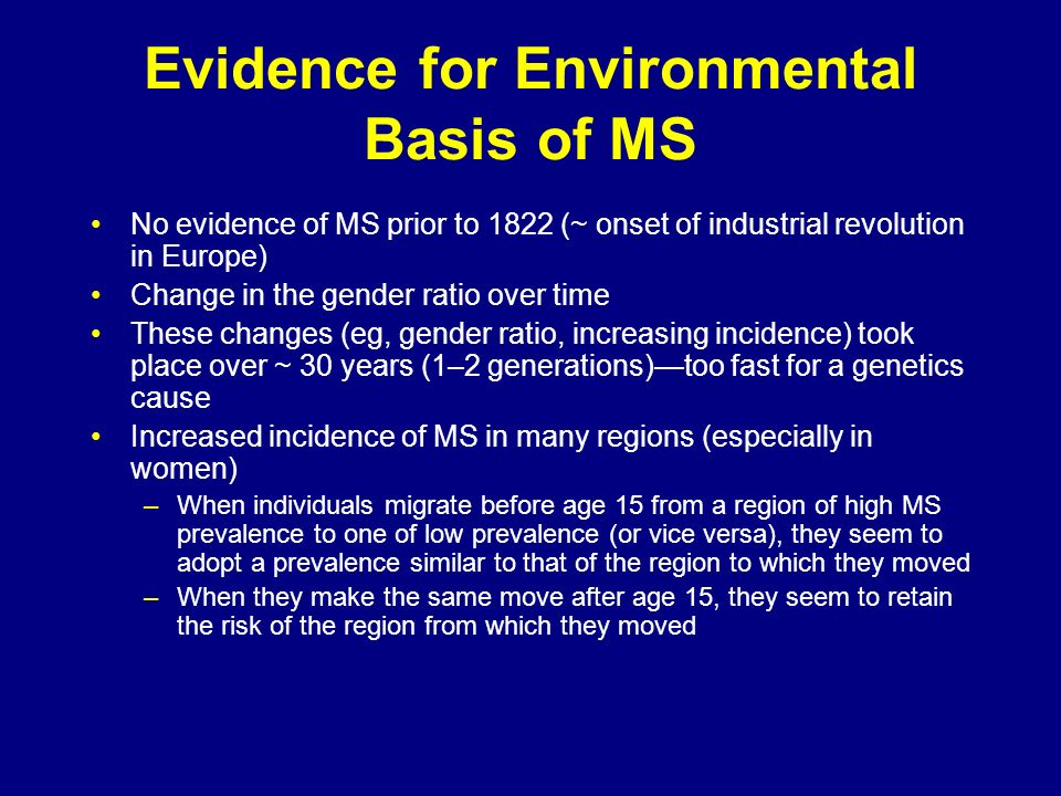Evidence for Environmental Basis of MS