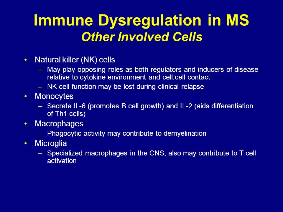 Immune Dysregulation in MS Other Involved Cells