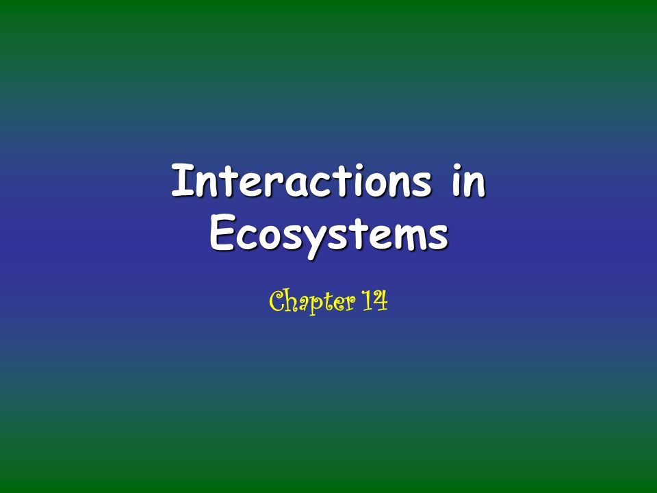 Interactions in Ecosystems