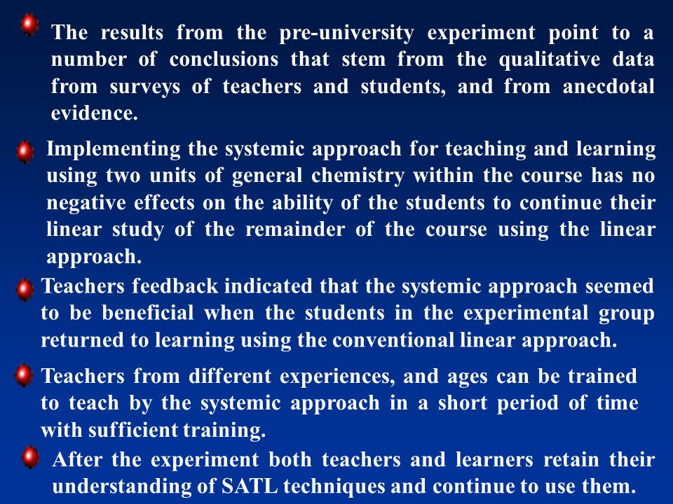 The results from the pre-university experiment point to a number of conclusions that stem from the qualitative data from surveys of teachers and students, and from anecdotal evidence.