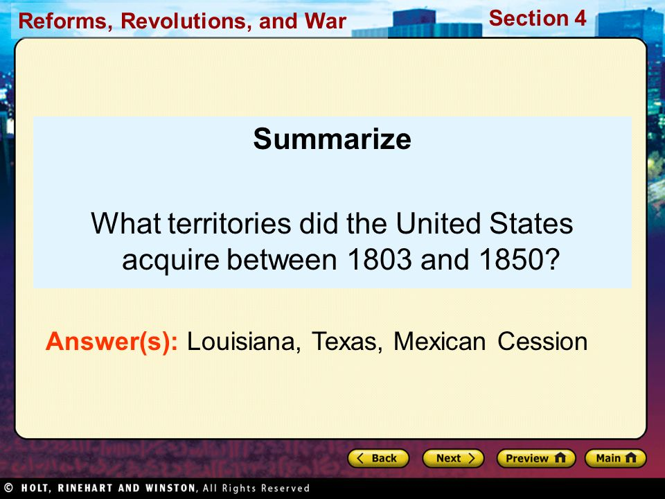 What territories did the United States acquire between 1803 and 1850