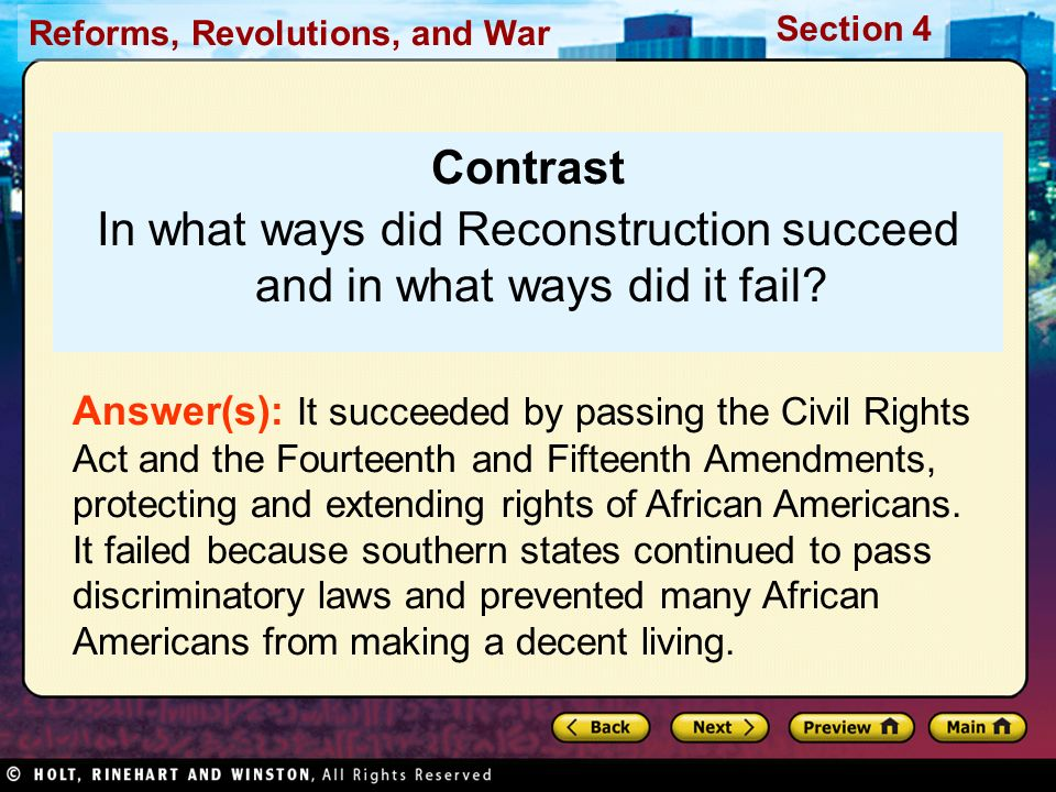 In what ways did Reconstruction succeed and in what ways did it fail