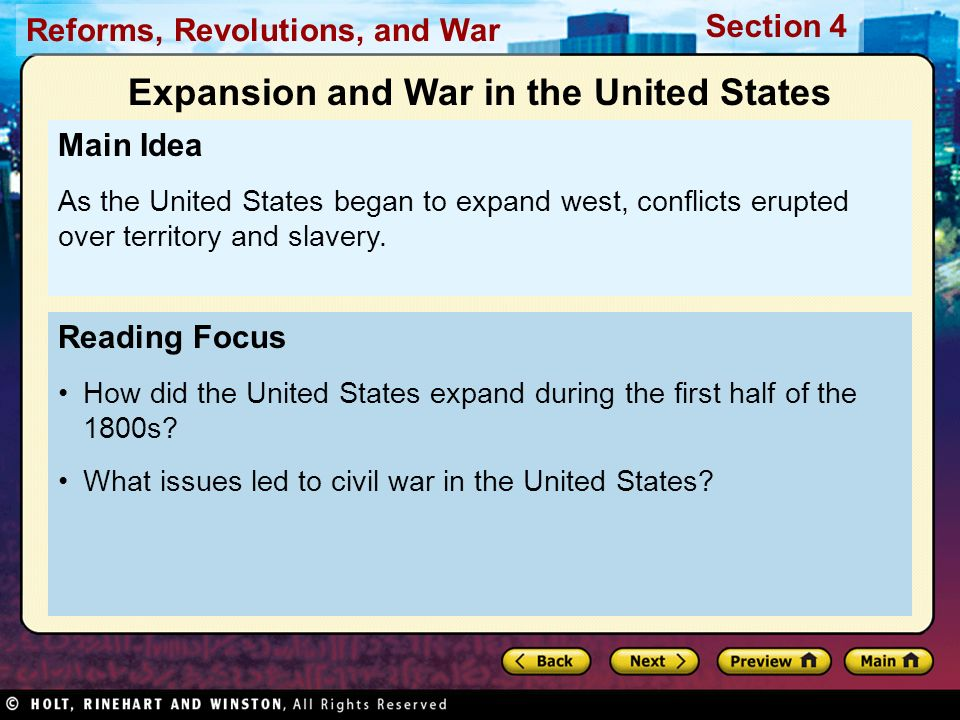 Expansion and War in the United States