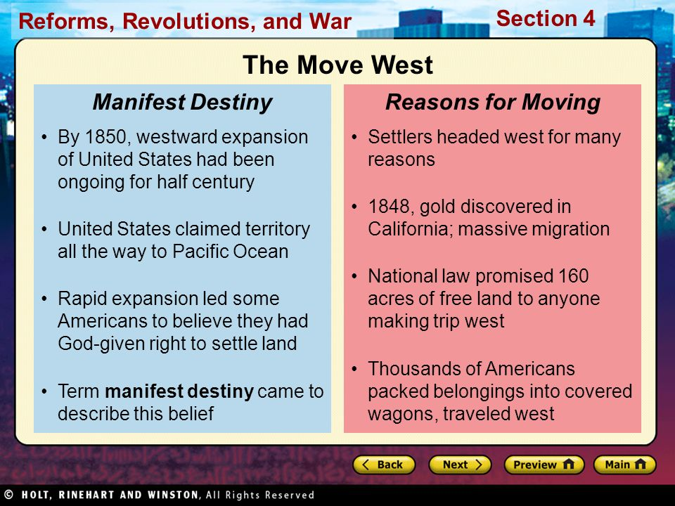 The Move West Manifest Destiny Reasons for Moving