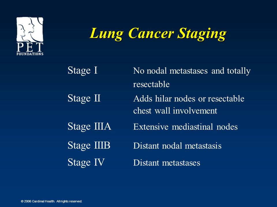 Lung Cancer Staging Stage I No nodal metastases and totally