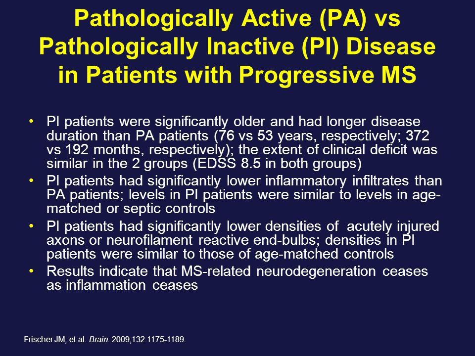 Pathologically Active (PA) vs Pathologically Inactive (PI) Disease in Patients with Progressive MS