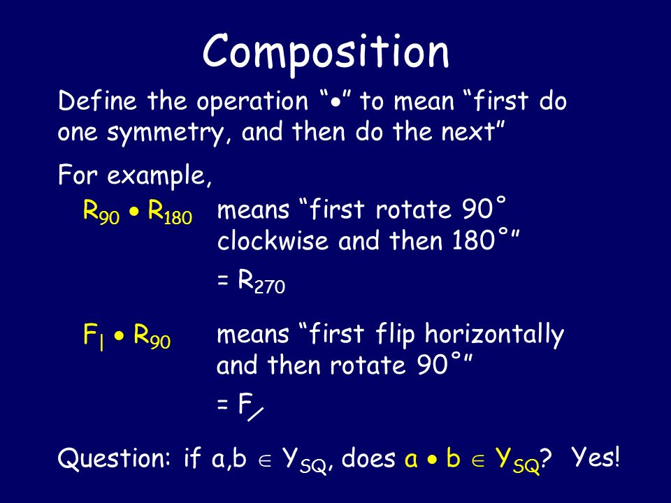 Composition Define the operation  to mean first do one symmetry, and then do the next For example,
