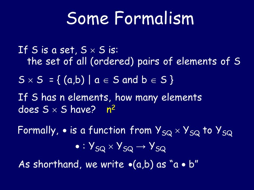 Some Formalism If S is a set, S  S is: