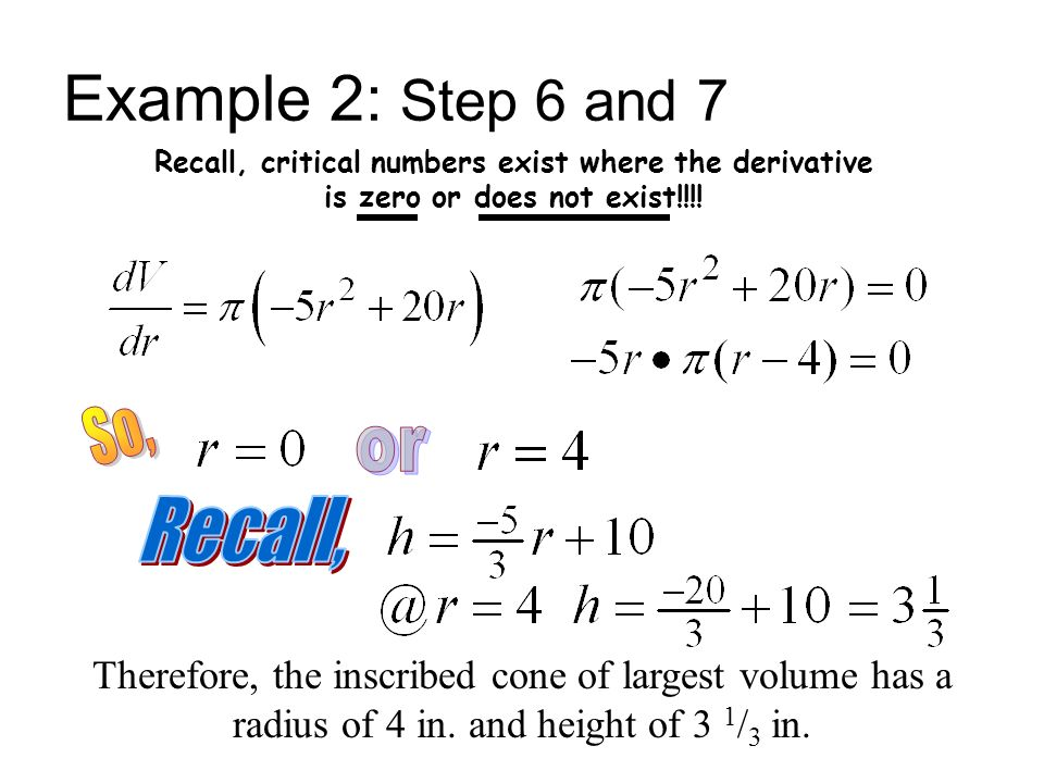 Example 2: Step 6 and 7 So, or Recall,