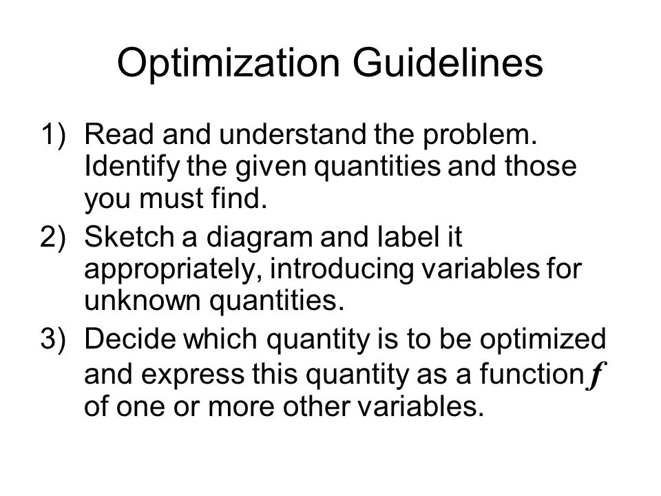 Optimization Guidelines