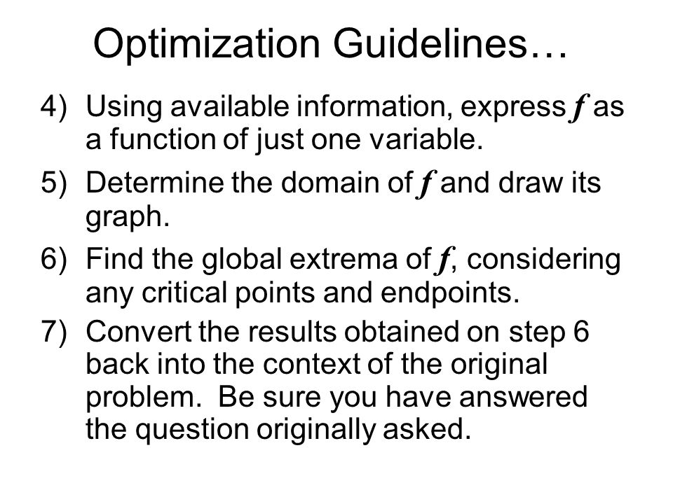 Optimization Guidelines…