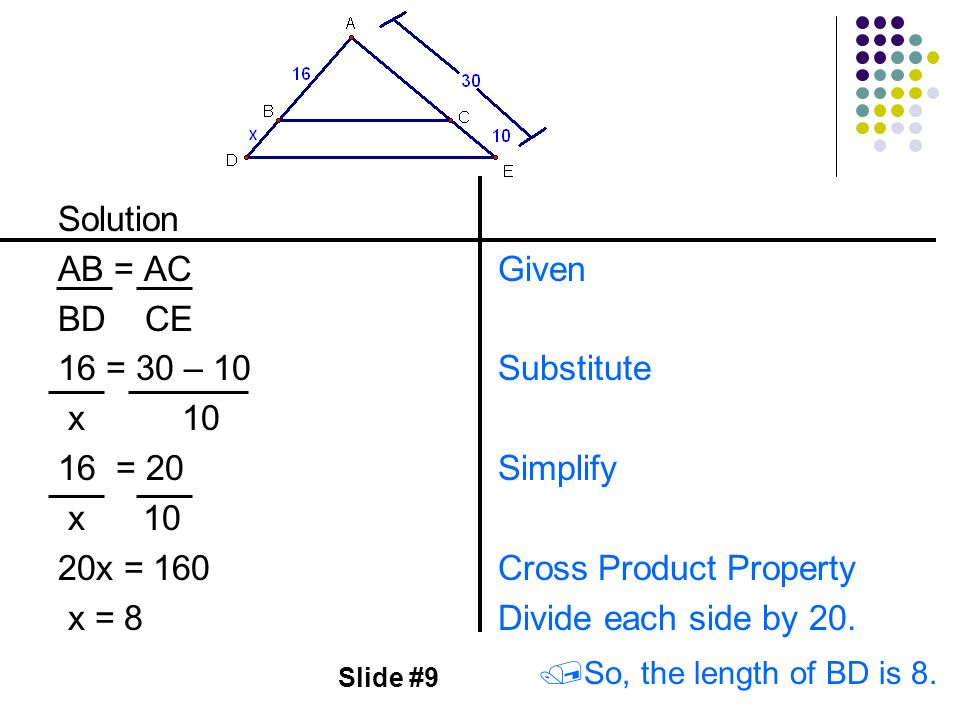 Cross Product Property Divide each side by 20.