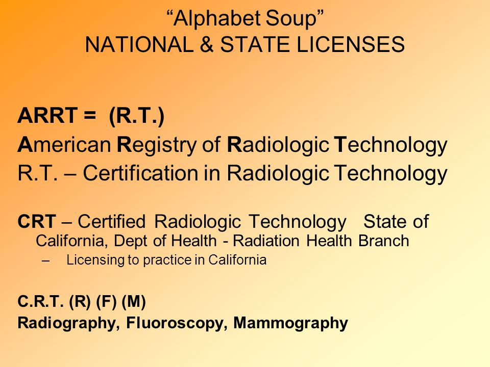 Alphabet Soup NATIONAL & STATE LICENSES