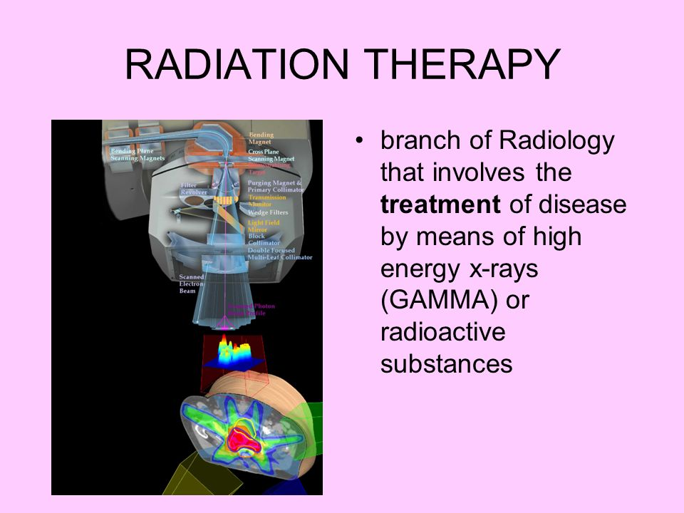 RADIATION THERAPY branch of Radiology that involves the treatment of disease by means of high energy x-rays (GAMMA) or radioactive substances.
