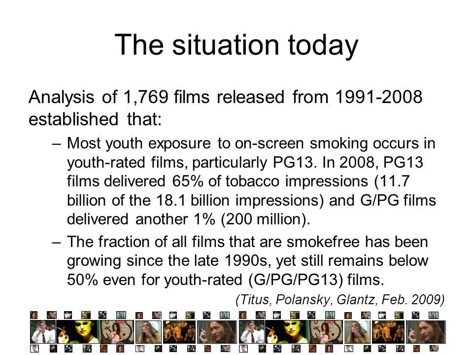 The situation today Analysis of 1,769 films released from 1991-2008 established that: